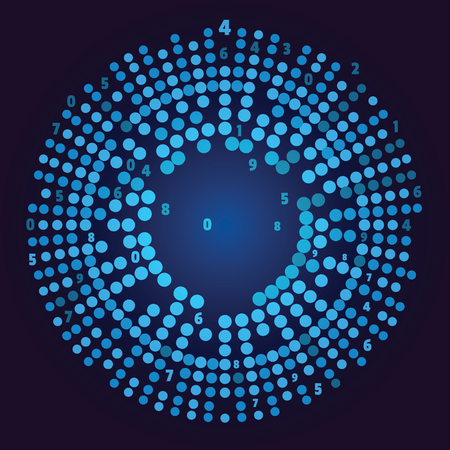 Big data visualization. Social network representation. Big data array visual concept. Graphic abstract blue background. Vector illustration for web and business design. Illustration