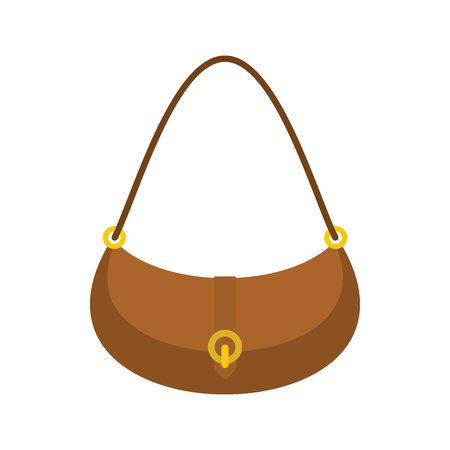 Fashion bag icon. Flat illustration of female fashion bag vector icon for web isolated on white background Illustration