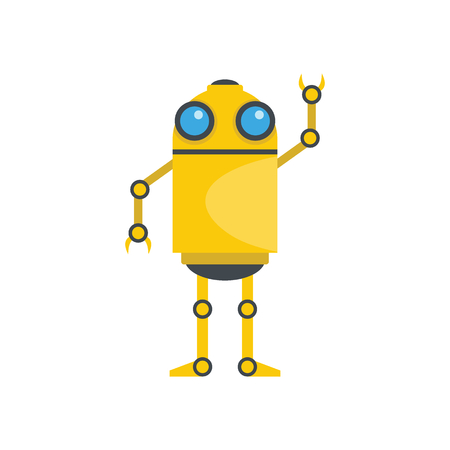 Funny yellow robot; Vector illustration of cartoon robot for web isolated on white background; Object for technology design and web.
