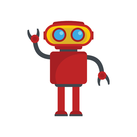 Funny red robot. Vector illustration of cartoon robot for web isolated on white background. Object for technology design and web Illusztráció