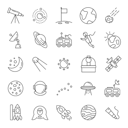 Space line icons vector set. Collection of space objects with astrunaut, planet and moon isolated on white background.