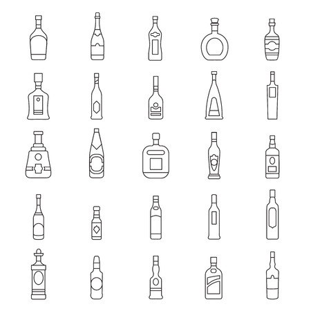 Alcohol bottles line icons set. Vector illustration alcohol drinks in bottles. Object for advertising and web