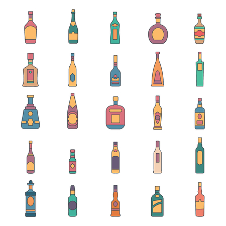 Alcohol bottles cartoon icons set. Vector illustration alcohol drinks in bottles. Object for advertising and web