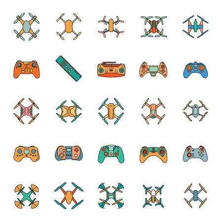 Drones in cartoon style icons set. Vector illustration of drones and remote control in cartoon stile. Object for advertising and web