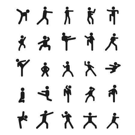 Different karate poses. Vector illustration with different karate poses in black simple silhouette style. elements of sport design and web.