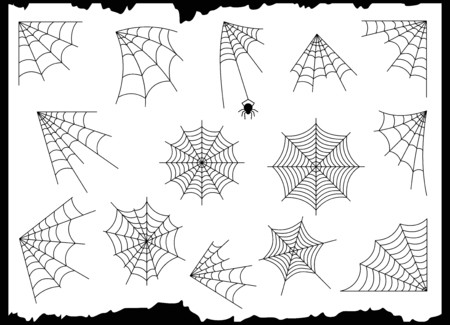 Illustration of halloween spider elements like cobweb sets which is used for spider designs.