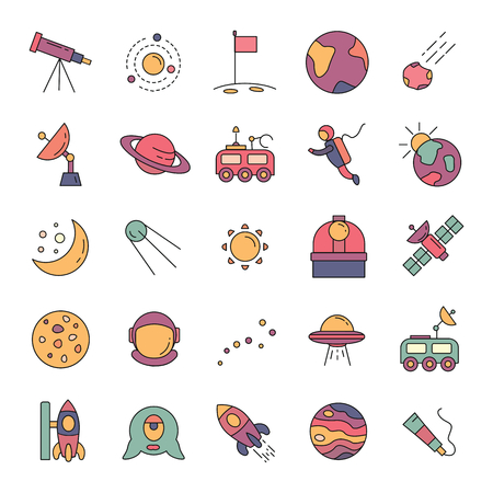 Space cartoon icons vector set. Collection of space objects with astronaut, planet and moon. Isolated on white background. Stock Illustratie
