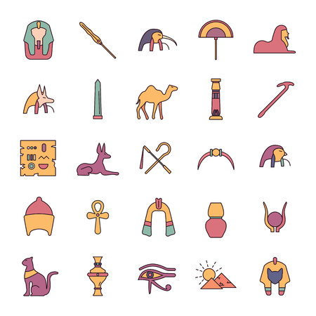 Egypt cartoon Icons set. Vector illustration with Egypt object with pharaoh, mummy and camel. Egypt culture and traditions. Historic objects.