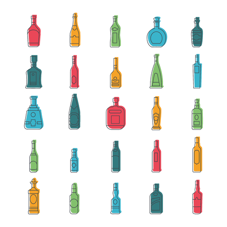 Alcohol bottles doodle icons set. Vector illustration alcohol drinks in bottles. Object for advertising and web