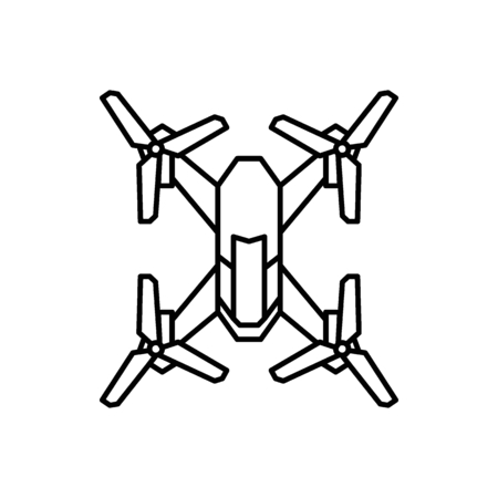 Drone icon in outline style. Drone object pictogram graphic for web design. Outline new technology vector concept. Innovation line icon.