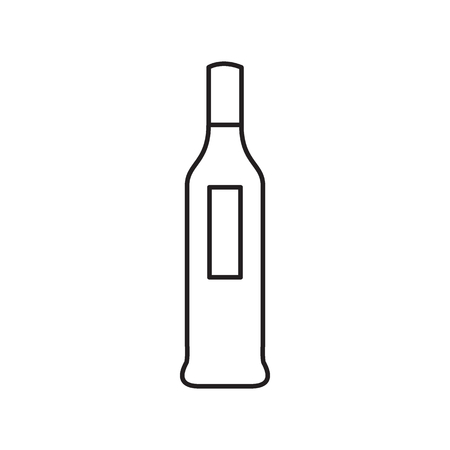 Alcohol bottle outline icon. Vector object in line stile wine bottle icon for drinks design, menue and veb