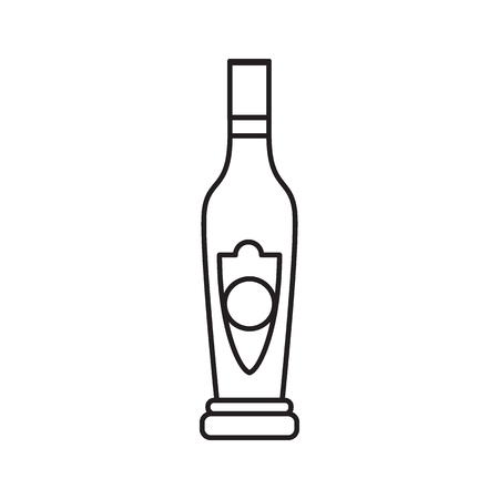 Alcohol bottle outline icon. Vector object in line stile madeira bottle icon for drinks design, menue and veb