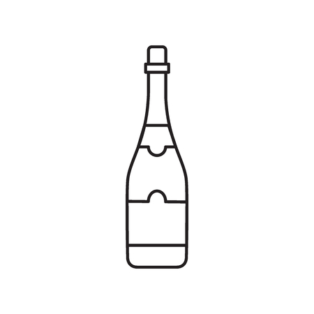 Alcohol bottle outline icon. Vector object in line stile champagne bottle icon for drinks design, menue and veb Illustration