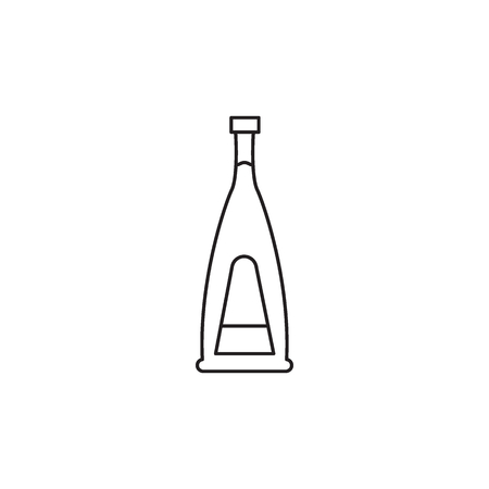 Alcohol bottle outline icon. Vector object in line stile brandy bottle icon for drinks design, menue and veb