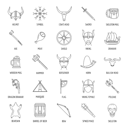 Ancient warriors of the Vikings on the ship isolated on white background. Outfit and symbols of the Vikings.