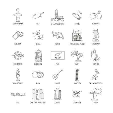 Set of Cyprus symbols and landmarks. Outline vector illustrations. Vettoriali