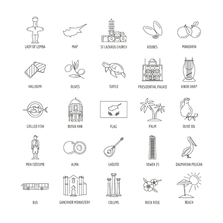 Set of Cyprus symbols and landmarks. Outline vector illustrations. Çizim