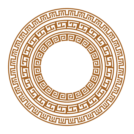 Golden ancient greek ornament on white background. Vector illustration Ilustração