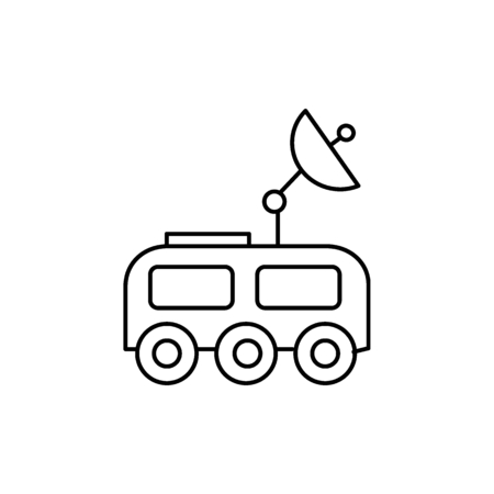 Moon exploration machine icon in line style.