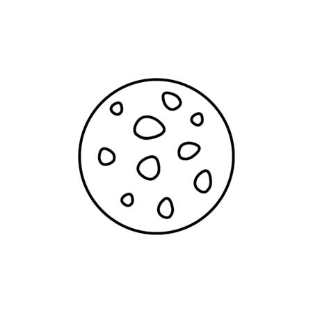 Moon icon in line style. Space illustration with Moon in white background. Element for space design. Science space object. Vectores