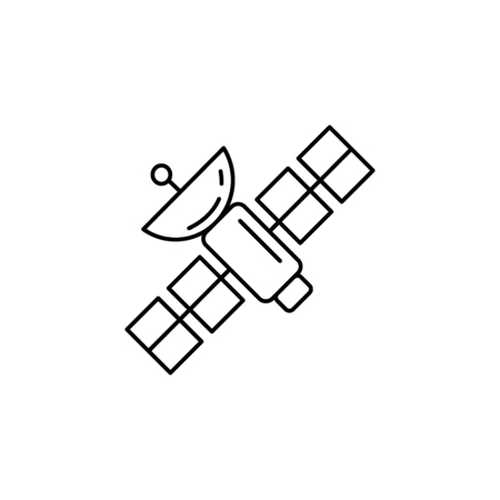 Science Satellite icon in line style. Space illustration with science Satellite in white background. Element for space design. Science space object.