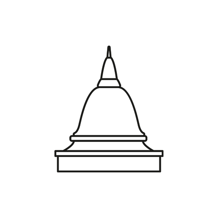 Temple outline icon. Thailand temple pogoda vector illustration isolated on white background.