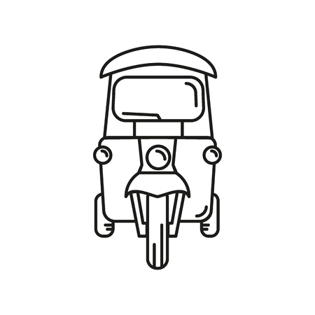 Taxi outline icon. Thailand tuk tuk taxi vector illustration isolated on white background. Element Thailand culture and traditions.