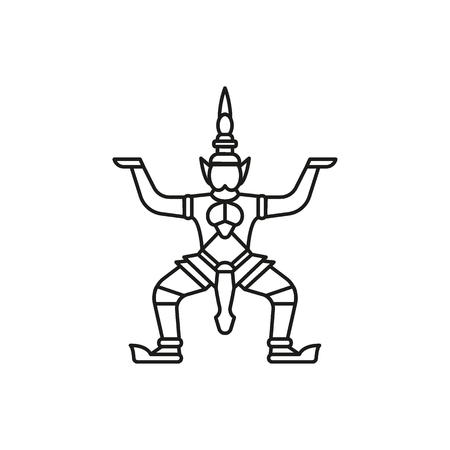 Giant statue outline icon. Thailand Giant statue vector illustration isolated on white background. Element Thailand culture and traditions.