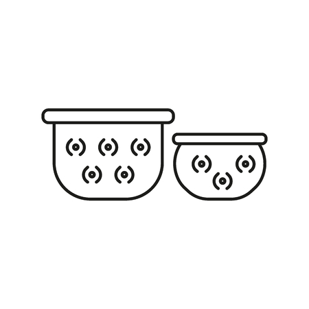Pots outline icon. Thailand Giant Pots vector illustration isolated on white background.