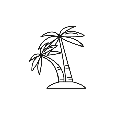Palm tree outline icon. Singapore symbol isolated on white background. Singapore Palm tree object culture and traditions, element for web and travel design. Çizim