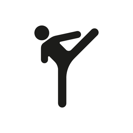 Karate silhouette icon. Vector black object in simple silhouette style witn real karate pose on white background. Element for sport design, karate site and martial arts graphic