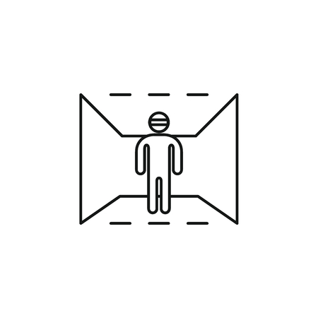 virtual reality outline icon. Man in virtual reality vector illustration on white background. Element for Virtual reality design and web