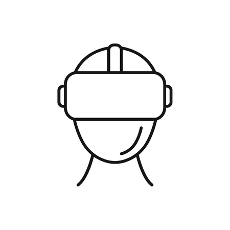 Virtual reality helmet outline icon. Headset virtual reality vector illustration on white background.