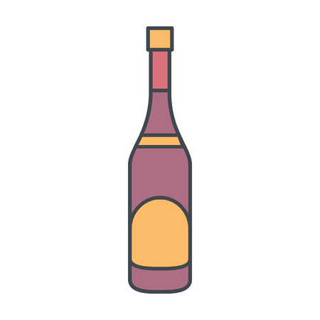 Alcohol bottle cartoon icon. Vector object in color cartoon stile champagne bottle icon for drinks design, menu and web. Illustration