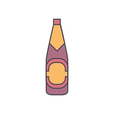 Alcohol bottle cartoon icon. Vector object in colour cartoon stile beer bottle icon for drinks design, menue and web