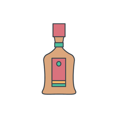 Alcohol bottle cartoon icon. Vector object in colour cartoon stile cognac bottle icon for drinks design, menue and web