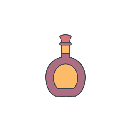 Alcohol bottle cartoon icon. Vector object in colour cartoon stile vodka bottle icon for drinks design, menue and web Banco de Imagens - 95968131