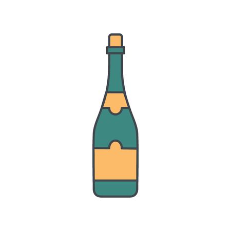 Alcohol bottle cartoon icon. Vector object in colour cartoon stile champagne bottle icon for drinks design, menue and web