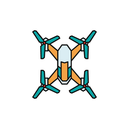 Drone icon in cartoon colorful style. Drone object pictogram graphic for web design. Cartoon new technology vector concept. Innovation line icon. Illustration