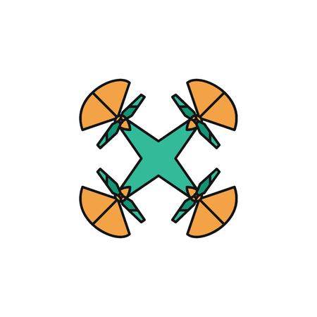 Drone icon in cartoon colorful style. Illustration