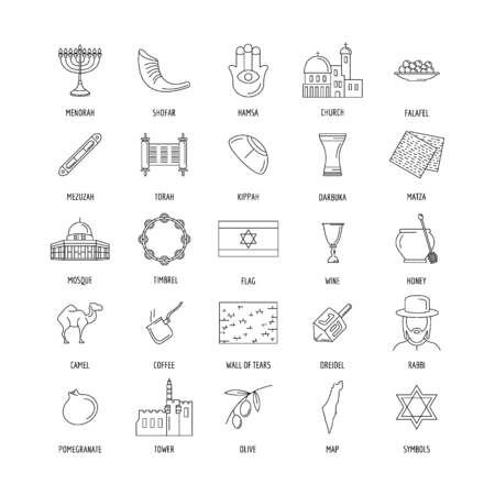 Israel culture and traditions outline icons set. Israel objects vector illustration isolated on white background. Elements of Israel architecture and religion.