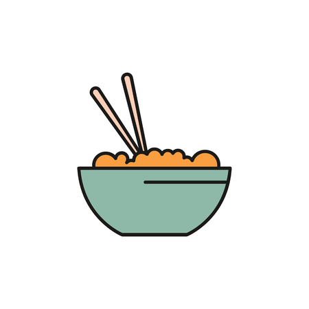 Asian food cartoon icon. Thailand food with rice vector illustration isolated on white background. Element of Thailand culture and traditions.