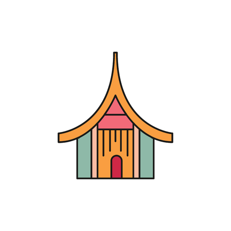 Asian house cartoon icon. Thailand house vector illustration isolated on white background. Element of Thailand culture and traditions.