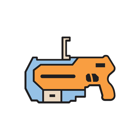 Virtual reality weapon cartoon icon. VR weapon vector illustration on white background. Element for Virtual reality design and web