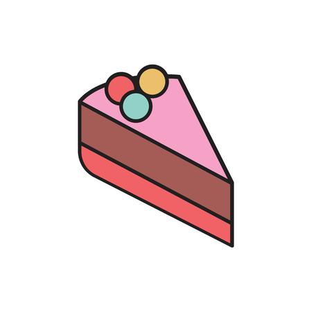 Sweet cake cartoon icon . Sweet cake vector illustration on white background. Element for food sweet design