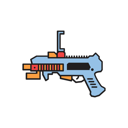 Virtual reality gun cartoon icon. VR weapon vector illustration on white background. Element for Virtual reality design and web Illustration