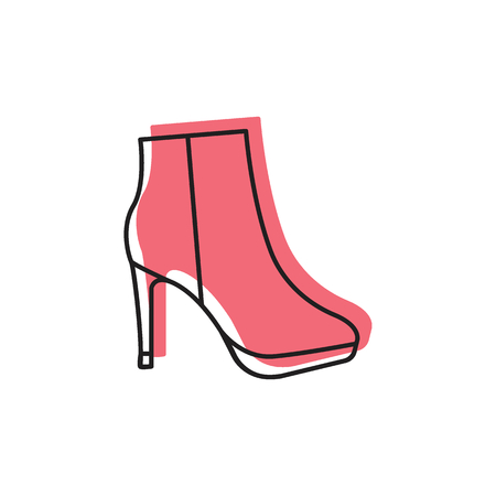 Doodle illustration of Womans boot vector icon for web and advertising