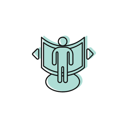 Man in virtual reality icon. Doodle illustration of Man in virtual reality space vector icon for web and advertising