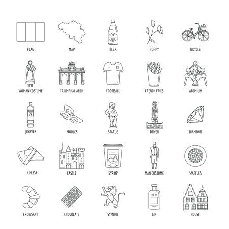 Belgium icons set. Outline illustration of Belgium vector icons for web and advertising