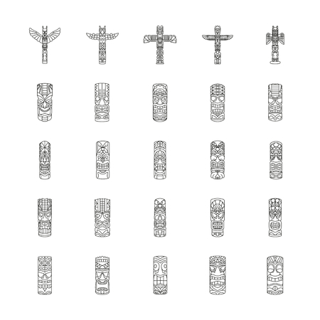 Totem icons set. Outline illustration of Totem vector icons for web and advertising
